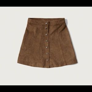 Brown suede button down skirt